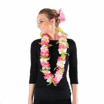 Hawaii Luau Party Artificial Fabric Royal Lei and Double Large Hibiscus Hair Clip Set Pink White