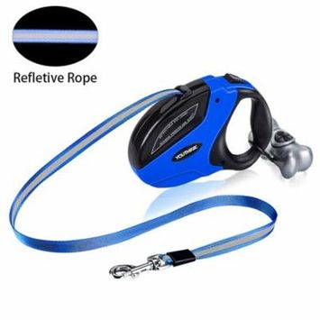 Retractable Dog Leash Puppy Pet Dog Nylon Retractable Traction Rope Walking Lead Leash With Dog Waste Dispenser Blue