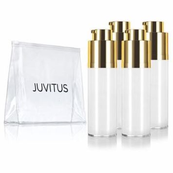 Airless Twist Top White Gold Pump Bottle - 30 ml / 1 oz (4 Pack) + Clear Travel Bag keeps out bacteria and air changing oxidation from your products - durable and leak proof for home or travel