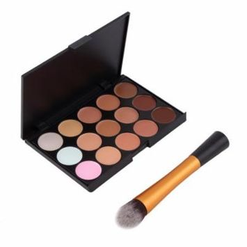 OUTAD 15-Colors Face Makeup Concealer Palette Cosmetic + Round Top Brush Tool