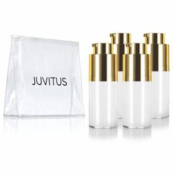 Airless Twist Top White Gold Pump Bottle - 15 ml / 0.5 oz (4 Pack) + Clear Travel Bag keeps out bacteria and air changing oxidation from your products - durable and leak proof for home or travel