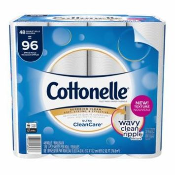 Cottonelle Ultra CleanCare,48 Double Rolls, Toilet Paper, Strong