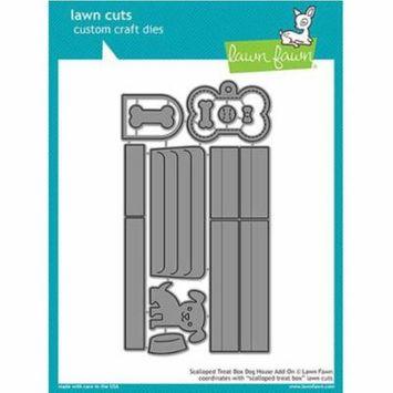 Lawn Fawn Cut Set - Scalloped Treat Box Dog House Add-on