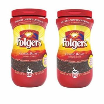 2 Instant Coffee Classic Roast 16 oz canisters pack = 32oz total