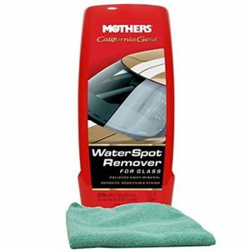 Mothers California Gold Water Spot Remover for Glass (12 oz) Bundled with a Microfiber Cloth (2 Items)
