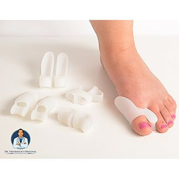 Dr. Frederick's Original 14 Piece Bunion Corrector Kit - 7 Pairs - Soft Gel Toe Separators & Bunion Cushions - Temporary Bunion Corrector & Pads - One Size Fits All Bunion Splint - Fast Bunion Relief