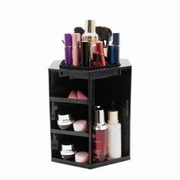 Rolling Makeup Organizer Plastic 360 Degree Rotating Makeup Cosmetic Box Black