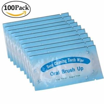 Impressive Smile 100 PCS Deep Cleaning Finger Toothbrush Teeth Cleaning Whitening Wipes for Oral Brush Ups Mint Flavor