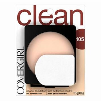 COVERGIRL Clean Powder Foundation Ivory 105, .41 oz (Pack of 2)