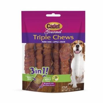 Cadet Triple Chew Dog Treat and Chew Pork-hide Wrapped in Duck Stuffed with Apple, 6 Count