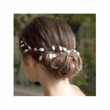 Girl12Queen Handmade Bride Wedding Party Decor Festival Golden Leaves Headband Hair Gift