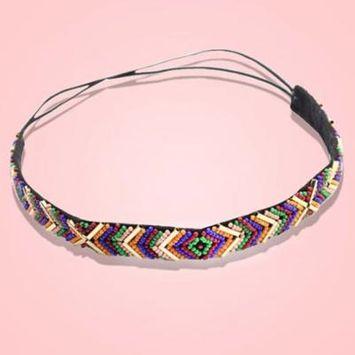 Girl12Queen Colorful Ethnic Style Seedbead Headband Elastic Hairband Party Hair Accessary