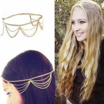 Girl12Queen Women Boho Multilayer Chain Fringe Tassel Metal Head Band Headpiece Hair Jewelry