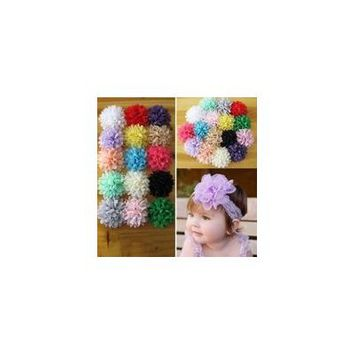 Girl12Queen 10Pcs Mixed Color Baby Infant Girls Chiffon Flower No Clip DIY Hair Accessory