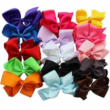 Girl12Queen 15Pcs/Set Girls' 15 Colors Lovely Sweet Big Ribbon Bow Hair Alligator Clips