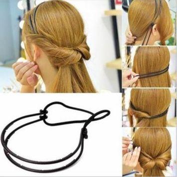 Girl12Queen Lady Hair Hoop Band Headband Elastic Rubber String Easy Hair Styling Making Tool
