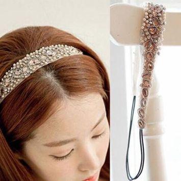 Girl12Queen Women's Sweet Lace Faux Pearls Hairband Rhinestone Crystal Headband Head Piece