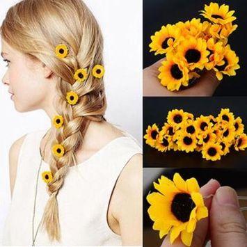 Girl12Queen 5Pcs Boho Daisy Flower Hair Cuff Clip Hair Pin Wedding Bridal Hair Stick Jewelry