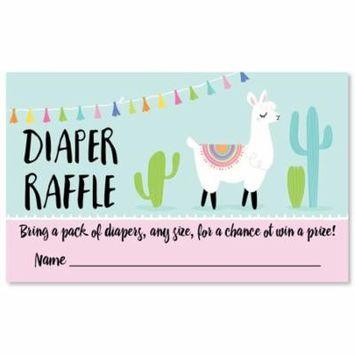 Whole Llama Fun - Diaper Raffle Baby Shower Game - 18 Count