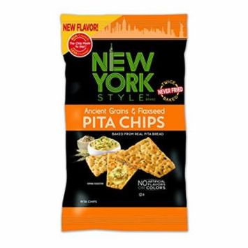 New York Style Pita Chips, Ancient Grain & Flax Seed, 8 Ounce (Pack of 12)