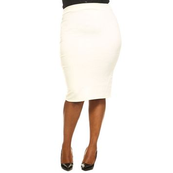Womens Plus Size Solid Pencil Bodycon Stretch Midi Skirts S20875-XL-White
