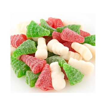 Christmas Sugar Sanded Gummi Trees and Snowmen Candy 4.5 pounds