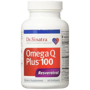 Dr. Sinatra's Omega Q Plus 100 Resveratrol Supplement with 100 mg of CoQ10 and Pure Calamarine Omega-3's for Heart Health and Anti-Aging, 180 Softgels (90-Day Supply)