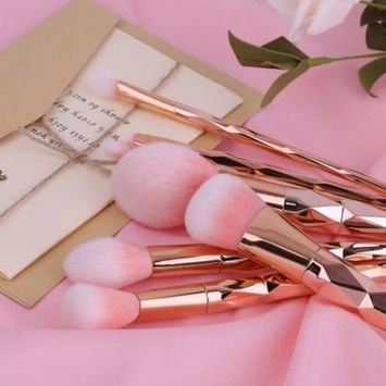 Rose Golden 7 Spiral Handle Cosmetic Brush Makeup Brush Profession Make Up Set Tool
