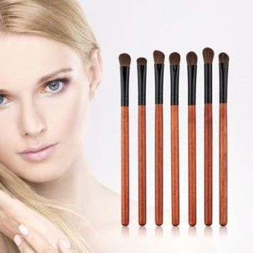 New Arrival 7Pcs Fashion Blending Eye Shadow Brush Make Up Tool Applicator Red Wood