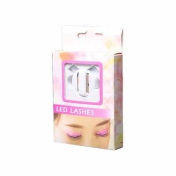 White Luminous False Eyelashes Magic LED Lashes Waterproof Luminous False Eyelashes Fake Eyelashes for Cosplay Halloween Costume Wedding Party