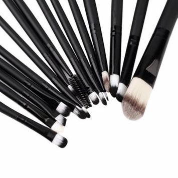 black 15Pcs/Set Make Up Brushes Kit Eyeshadow Eyeliner Mascara Eye Brush Tools