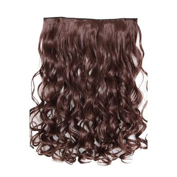 PRETTYSHOP Clip In Hair Extensions Full Head One Piece Hairpiece Wavy Heat-Resisting 22