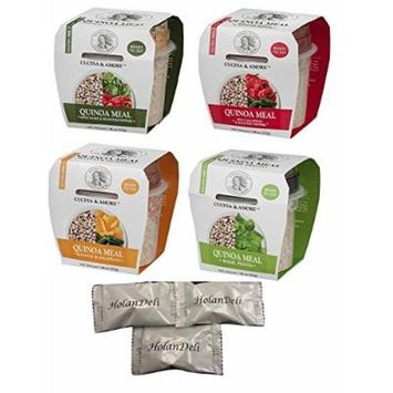 Cucina & Amore Quinoa Meal Variety Pack 7.9oz ( Artichoke & Roasted Pepper, Mango & Jalapeno, Basil Pesto, Spicy Jalapeno & Roasted Peppers). Includes Exclusive HolanDeli Chocolate Mints.