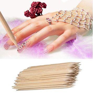 Vinjeely Nail Art Orange Wood Stick Cuticle Pusher Remover Pedicure Manicure Tool(100Pcs)