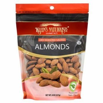 Kleins Naturals Dry Roasted Salted Almonds, 8-Ounce