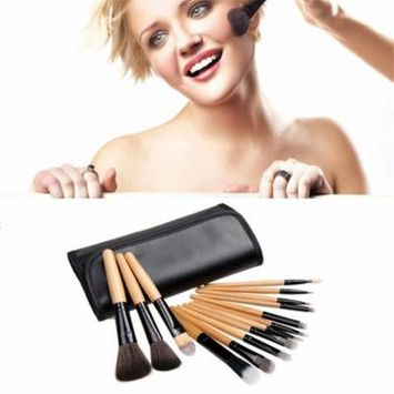 12 Pcs Professional Cosmetic Make up Makeup Tool Brush Set /kit With Case