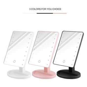 Lemonbest 16-LED Makeup Mirror Touch Screen Makeup Mirror USB/4*AA Battery Power Supply 180-360 Degree Rotation Adjustable Countertop for Home Beauty Improvement