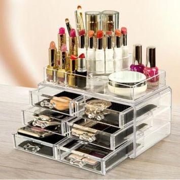 Zimtown Clear Cosmetic Makeup Organizer Display Acrylic Drawers Case Box Jewelry Storage