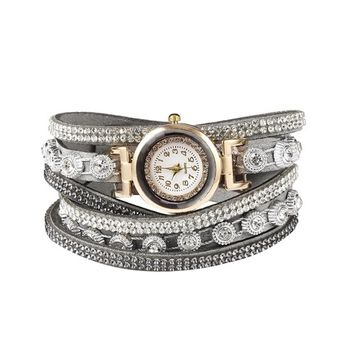 Unbrand - Women Fashion Casual Decor Round Rhinestone Bracelet Watch TOYS2 [name: actual_color value: actual_color-grey]