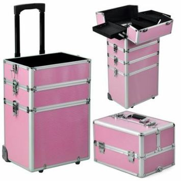 Zimtown Pro 4in1 Rolling Aluminum Cosmetic Train Case Professional Beauty Make-up Artist Cosmetic Case