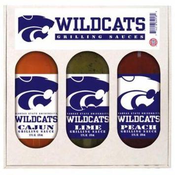 Hot Sauce Harrys 4918 Kansas State Wildcats NCAA Grilling Gift Set - 12 oz Cajun, 12 oz Lime, 12 oz Peach