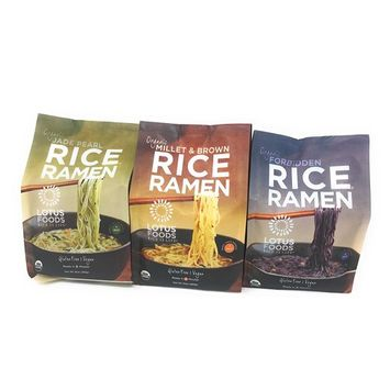 Lotus Foods Organic Rice Ramen Variety Bundle of Three 10 Ounce Bags: 1 Each of Forbidden, Millet & Brown, and Jade Pearl
