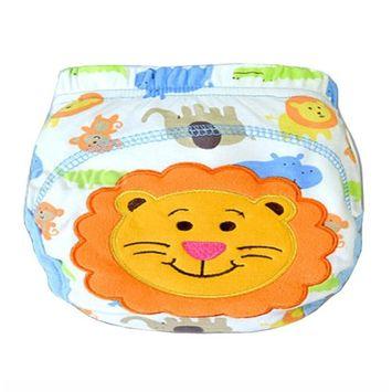 Baby Toddler Training Panties Cute Reuseble Cotton Cartoon Potty Nappy (90 (M), Lion)