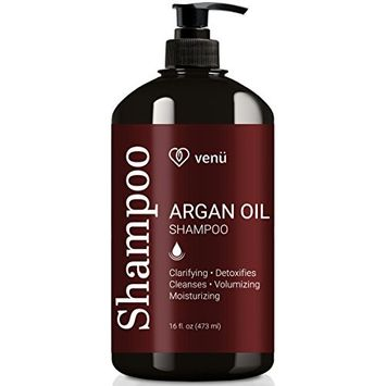 Argan Oil Shampoo – Restorative, Volumizing and Moisturizing For All Hair Types – All Natural Essential Oils Formula - Safe for Color Treated, Chemically Processed and Curly Hair – by Venu