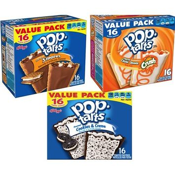Kellogg's Pop-Tarts Toaster Pastries Value Pack Limited Edition Pop Tarts 28.2 Oz (Smores,Strawberry,Cookies, 2)