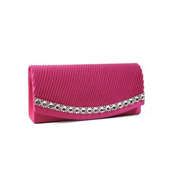Pleated Satin Rhinestone Evening Clutch Handbag Purse