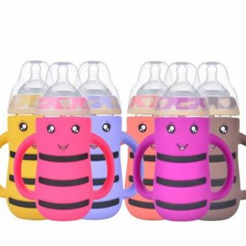 Stylish Picks for The Littlest Ones Cartoon Wide Mouth Glass Milk Bottle Kids Anti-Colic Water Bottle with Straw
