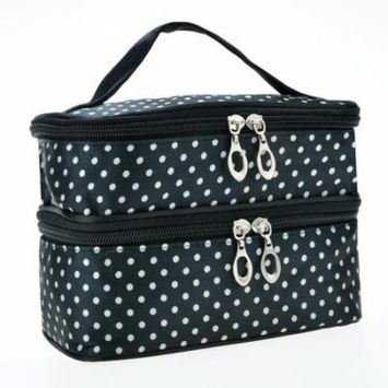 Lowest Price Ever!!!Hot New Women's Fashion Portable Double-Deck Toiletry Bag Dot Pattern Makeup Bag Margot