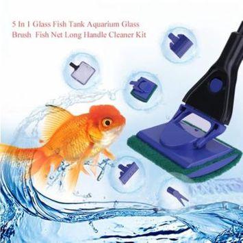 5 In 1 Glass Fish Tank Aquarium Glass Brush Fish Net Long Handle Cleaner Kit