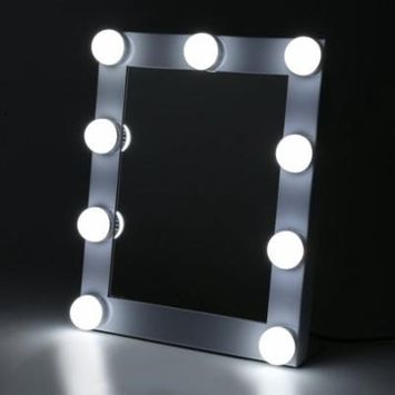 New Make-Up Mirror Portable Led Bulb Lighted Makeup Mirror With Dimmer Stage US Plug Mirror With Lights Beauty Mirror Decorative Mirror, White